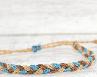 blue & brown braided bracelet, friendship bracelet, adjustable bracelet, surfer string bracelet, stacking bracelet, surf beach bracelet