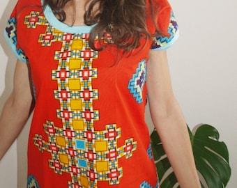 Red tank top dressy and casual in WAX fabric and patterns geometric