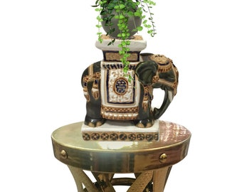 Vintage Plant Stand Elephant Pedestal Stand Ceramic Chinoiserie Decor Bookend Hollywood Regency Modern Display Statue Elephant Garden Stool
