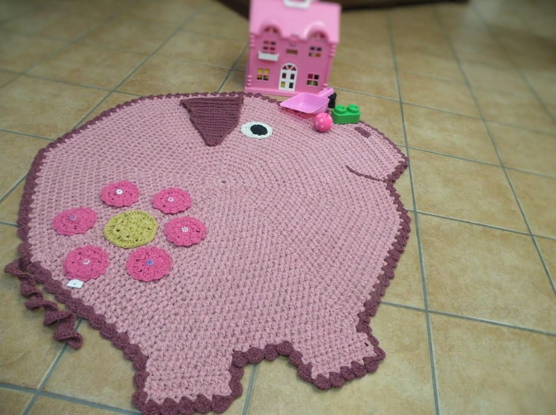 Ferkel-förmigen Teppich Teppich häkeln rosa Schwein Peppa Pig