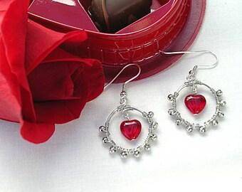 Red Glass Heart Hoops - Wire Wrapped Earrings