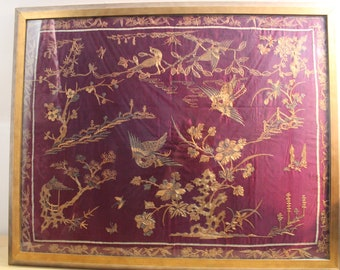 Antique Silk Marriage Tapestry Hand Embroidered- Gold Couching