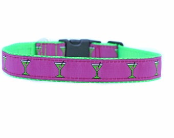 1 Inch Wide Dog Collar with Adjustable Buckle or Martingale in Cosmo