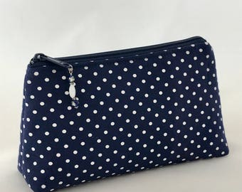 Navy Blue Polka Dot Zippered Pouch