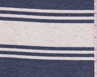 Ivory/Denim Stripe Jersey Knit, Fabric By The Yard