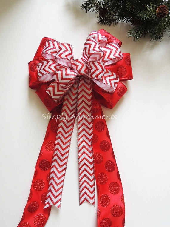 Red Chevron Polka Dots Wreath Bow Red White Party Decor Christmas Tree Topper Bow Christmas Swag Bow Red White Christmas Door Hanger Bow