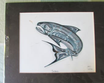 "Chinook Salmon & Krill 14"" signed, matted limited edition art print ~ MW James"