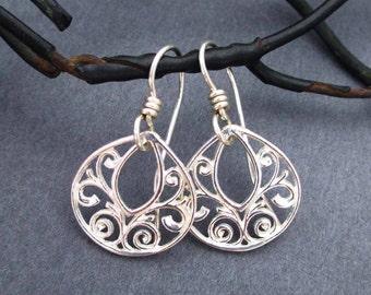 On Sale : Sterling Silver Filigree Earrings Small Dangle Earrings Dainty Delicate Teardrop Earrings Casual Everyday Jewelry