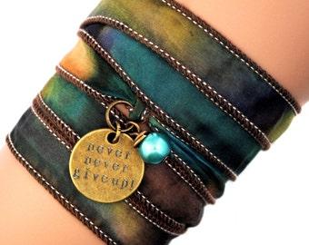 silk wrap bracelet, silk ribbon bracelet ,yoga jewelry, bohemian, spiritual gifts, boho,ruban de soie,seidenband