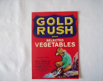 Gold Rush Brand Vegetables Crate Label 1950s
