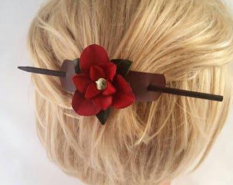 Leather Flower Barrette - Bun Holder - Hair Stick for Mom - Leather Rose Valentine - 3rd Anniversary Gift - Bun Holder & Makers - Hairsticks