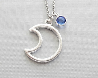 Moon Necklace, Crescent Moon, Moon Silhouette, Celestial, Sky, Friend Birthday Gift, Silver Jewelry, Swarovski Channel Birthstone Crystal