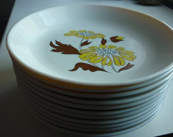Set of 10 French Sovirel vintage seventies white opaline hollow plates yellow and brown flowers