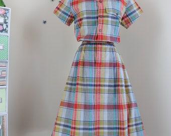 1980s Vintage Plaid Midi Dress - Scalloped Hem - Full Skirt - Medium - Summer Spring Dress - Short Sleeve - Elastic Waist - Pockets
