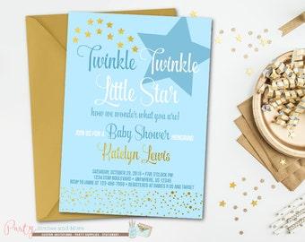Twinkle Twinkle Little Star Baby Shower Invitation, Star Baby Shower Invitation, Baby Shower Invitation, Boy Baby Shower Invitation