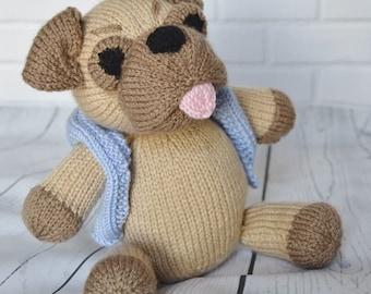 Pug soft toy knitting pattern, dog knitting pattern, doll knitting toy patterns, knitted toy patterns, knitted nursery toy, dog knit pattern