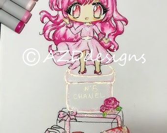 Fashion illustration designer inspired pink kawaii glitter chibi wall art