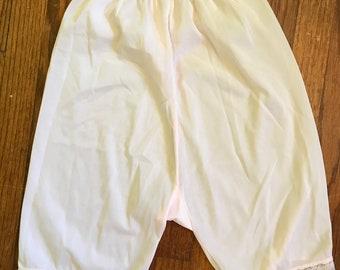 pale pink bloomers nylon semi sheer pajama shorts pin up girl photo shoot vintage lingerie