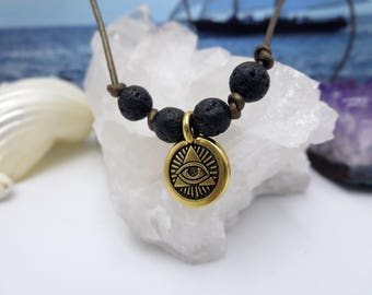 Perfect Anxiety Necklace for Her, Eye of Providence Choker, Triangle Lava Stone Leather Spiritual Piece, All Seeing Eye Black Rock Diffuser