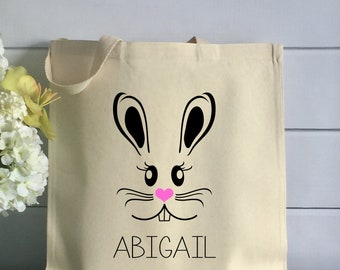 Personalized Easter Tote Bag - Kids Cotton Tote with Bunny (Item 1259J)