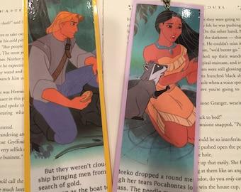 Pocahontas Disney Bookmarks featuring John Smith, Pocahontas, and Meeko the Raccoon