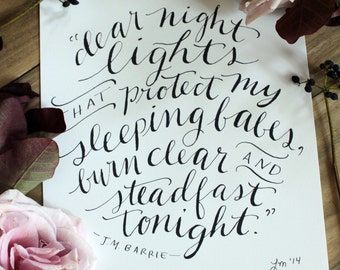 Night Lights quote in black Calligraphy