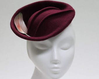 The Kiru II Hat - Felt Fascinator Races Hat w/ Pintucks & Feather - Burgundy Mini Hat - Draped Cocktail Headpiece - Royal Ascot