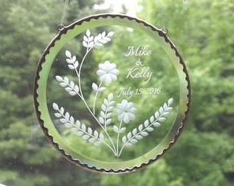 Wedding Gift Bevel Suncatcher, Personalized Beveled Glass Suncatcher, Engraved Glass,  C119