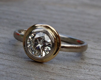 Moissanite Halo Engagement Ring - Forever One G-H-I - Recycled 14k Yellow Gold and Recycled 950 Palladium - Conflict-Free - Made to Order