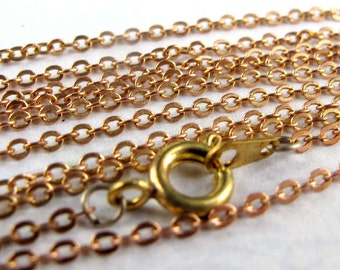 Vintage Red Brass Cable Chain Necklaces (6X) (13 inches) (C611)