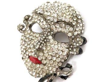 "Ugo Correani ""Venetian Mask"" Brooch, Pave Ice Crystals, Red & Black Enamel, Dimensional, Italian Couture Designer, Vintage Gift for Her"