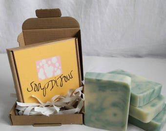 Tea tree and peppermint invigorating and uplifting cold process soap 100g by SoapDiJour