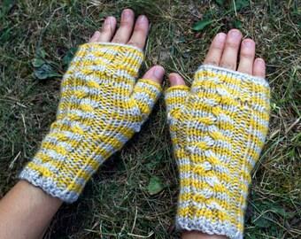 Yellow & Gray Vegan Fingerless Gloves - Vegan Arm Warmers - Texting Gloves - Driving Gloves - Cycling Gloves - Winter Mittens Wrist Warmers