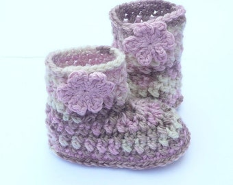 Crochet PATTERN BABY Booties - Multicolour Baby Boots (3 sizes to fit 0 - 12mths)