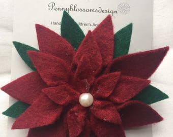 Christmas poinsettia baby headband and clips