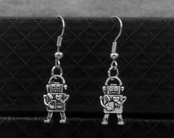 Tiny Robot Earrings -Dangle Earrings -With Jewelry Box