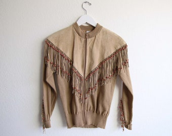 VINTAGE Cardigan Fringe Suede Western Knit Jacket Womens Small