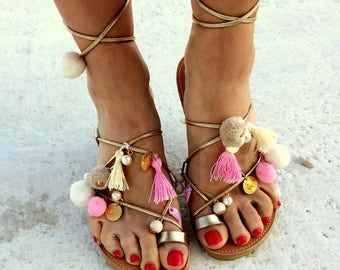 gold leather lace up  light pink pom pom /bridal sandals/wedding sandals/gold coins/ white perla/aelia gold lace up/free shipping