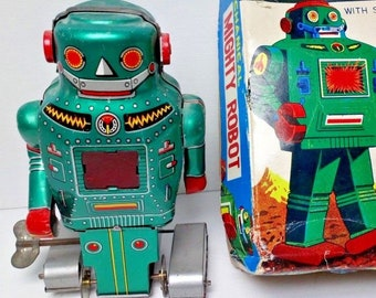 Mechanical Mighty Robot With Spark-Noguchi boxed, mechanics working-1960s Japan
