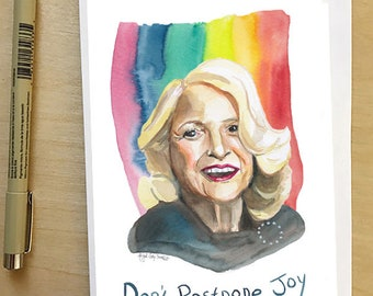 Edie Windsor portrait and Inspiring quote, 5x7 card, Ready to Ship