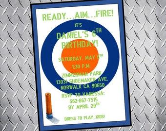 Dart Gun Birthday Invitation, Target, Dart Gun party, boy's birthday invitation, dart wars party, dart gun birthday invite, digital file