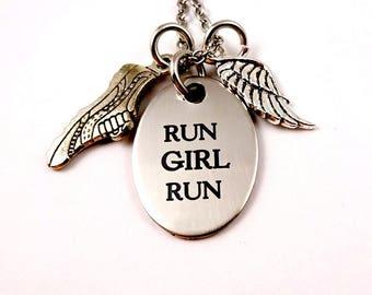 Running Necklace - Run Girl Run - Runner - Woman - Marathon - Love to Run - Run Cross Country Necklace - Running Friends Sisters
