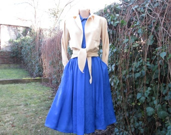 Nice Dress / Dress Vintage / Blue Dress / Ultramarine Dress / Side Pockets / Elastic Waist / Size UK16 / EUR44