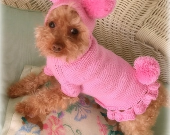 PINKY-PIE Original Dog Sweater and Hat -- Custom Hand Knit -- All Sizes