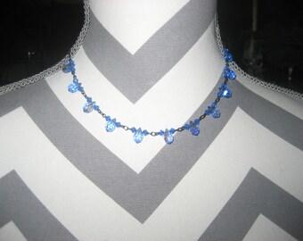 Bellagio Sky Blue Crystals Choker Necklace