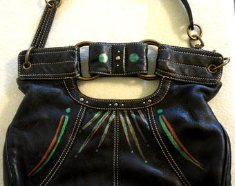 "Hayden-Hartnett Leather Handbag ""On a Whim"", Hand Painted, One of a Kind"