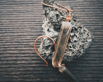 Copper and Smoky Quartz Crystal Earrings