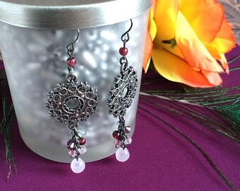 SALE!!!  metal tribal earrings with purple bead accents