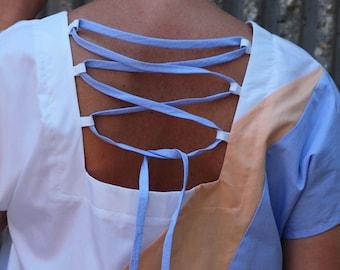 Cotton Geometry Top, Cotton Shirt, Cotton Cropped Top, Cotton Open Back Top