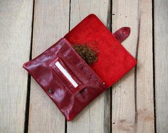 Gifts for smokers,Tobacco pouch, Leather cigarette case, Rolling papers, Red leather pouch, Gift for her, Zipper pouch, Red leather wallet